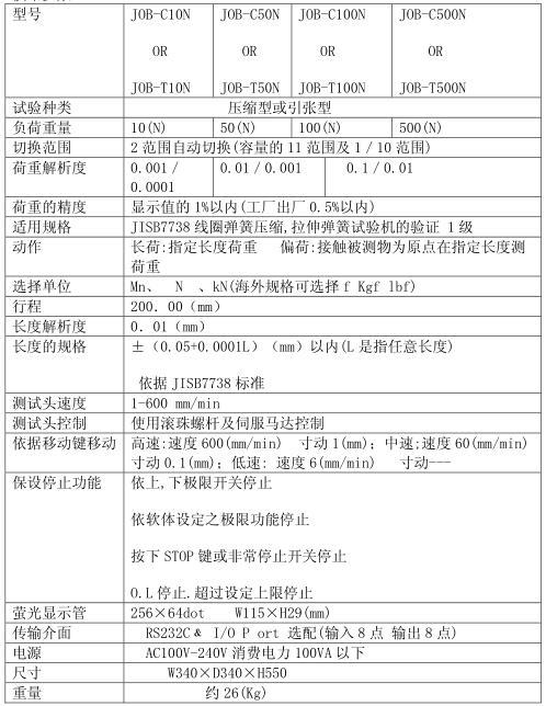 JOB-C10N弹簧测试仪技术参数