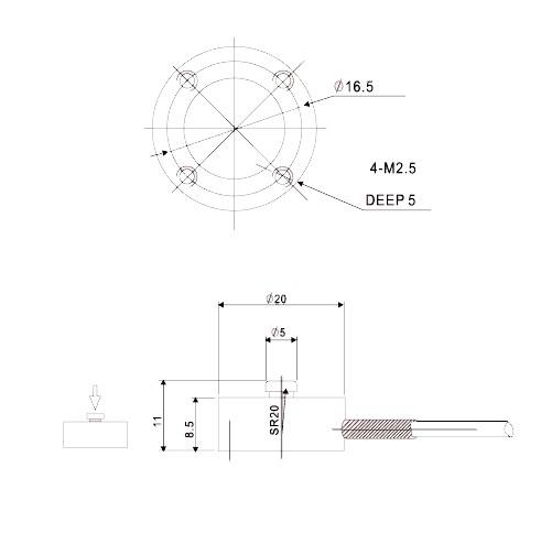 Z2S-LC系列单向压缩测试推拉力计结构尺寸图