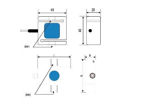 Z2S-SW系列防水防尘独立传感器推拉力计结构图