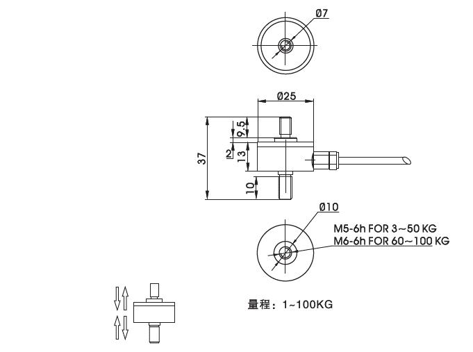 Z2S-LM系列外置超小型传感器推拉力计结构尺寸图